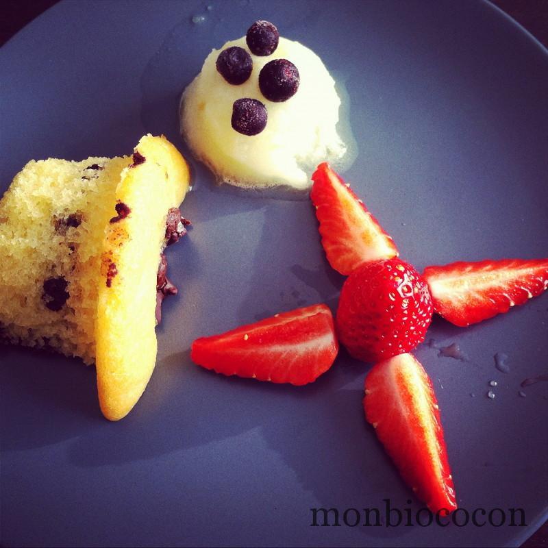 dessert-fraise-glace-muffin-pépites-chocolat