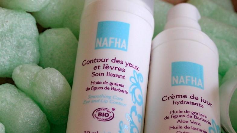 Test et avis des cosmétiques bio NAFHA: Crème de jour hydratante + Contour des yeux et lèvres