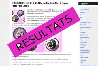 RÉSULTATS du Jeu Concours pour la Bague Fleur Lucie Mary: qui est la gagnante?