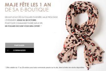Maje offre un foulard panthère pour tout achat sur son e-boutique qui fête ses 1 an