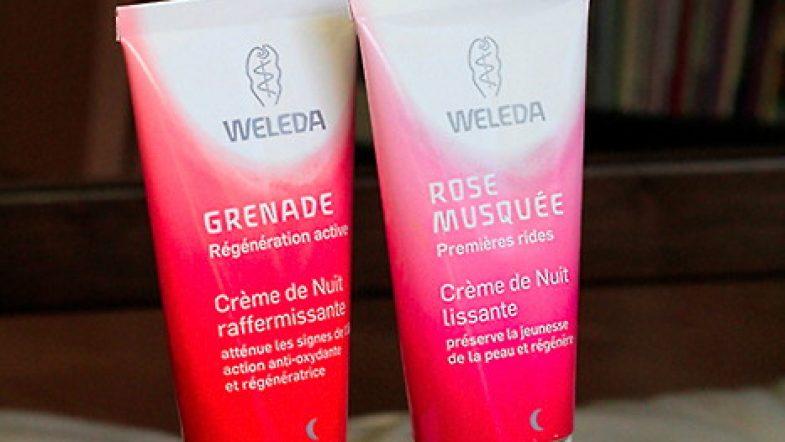 Test des crèmes de nuit Weleda: Rose musquée et Grenade by moi et ma maman